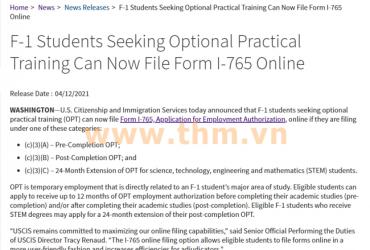 Du học sinh Mỹ visa loại F-1 đang tìm cơ hội thực tập tùy chọn (OPT) đã có thể nộp đơn I-765 xin giấy phép làm việc qua hình thức trực tuyến