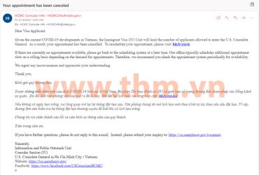 Cơ quan lãnh sự Hoa Kỳ hạn chế các cuộc hẹn phỏng vấn thị thực trong tháng 05/2021