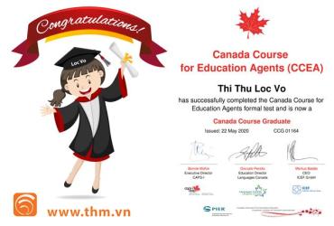 Chúc mừng chuyên viên Võ Thị Thu Lộc đạt chứng chỉ quốc tế tư vấn giáo dục Canada CCEA